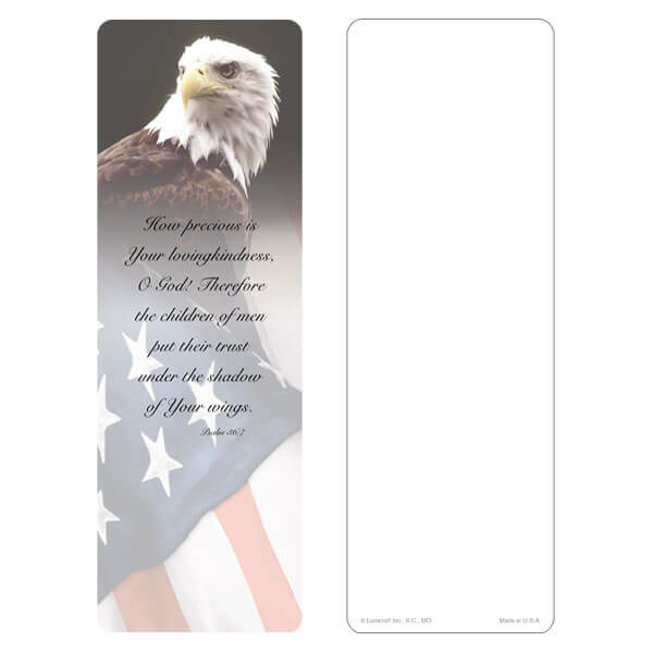 "3"" x 9"" Eagle & U.S. Flag bookmark, No Emblem, Psalm 36:7"