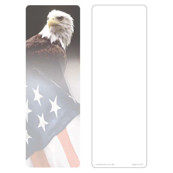 "3"" x 9"" Eagle & U.S. Flag bookmark, No Emblem, No Verse"