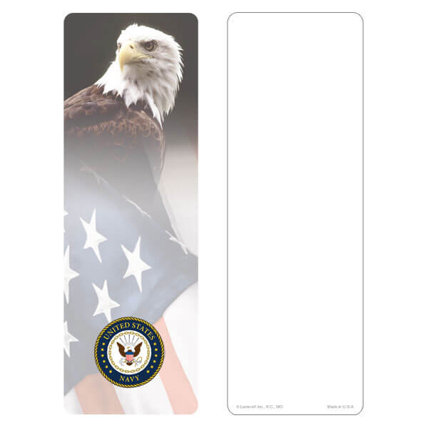 """3"""" x 9"""" Eagle & U.S. Flag bookmark, Navy Emblem, No Verse"""