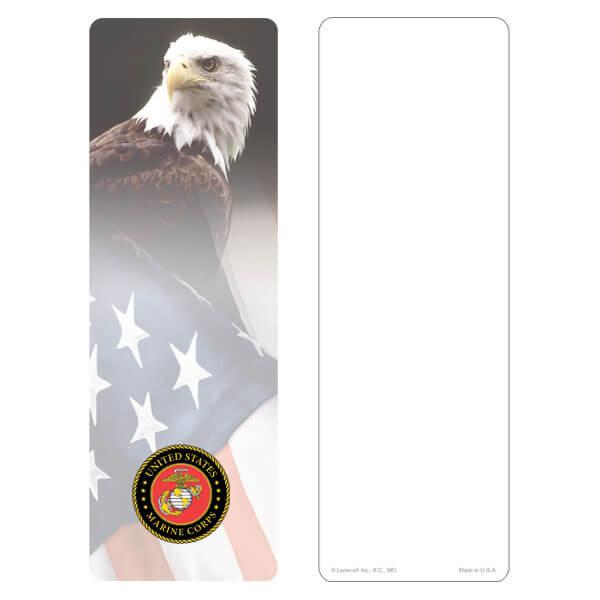 """3"""" x 9"""" Eagle & U.S. Flag bookmark, Marines Emblem, No Verse"""