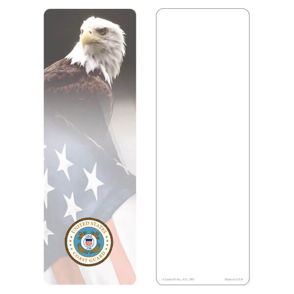"""3"""" x 9"""" Eagle & U.S. Flag bookmark, Coast Guard Emblem, No Verse"""