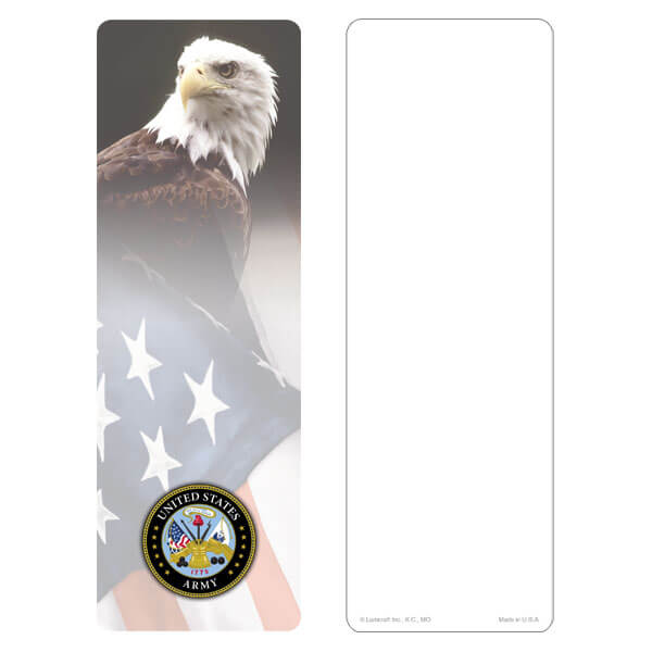 "3"" x 9"" Eagle & U.S. Flag bookmark, Army Emblem, No Verse"