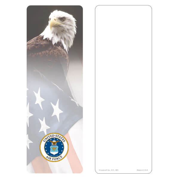 "3"" x 9"" Eagle & U.S. Flag bookmark, Air Force Emblem, No Verse"