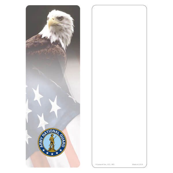 "3"" x 9"" Eagle & U.S. Flag bookmark, Army National Guard Emblem, No Verse"