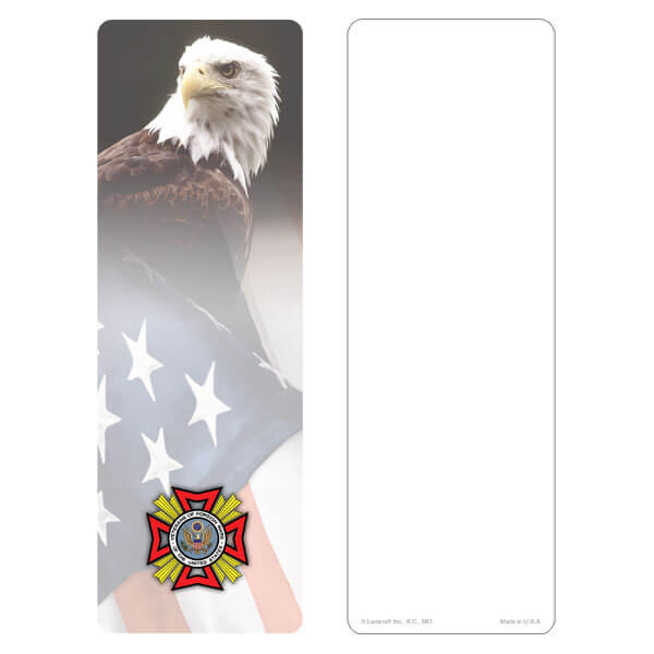 "3"" x 9"" Eagle & U.S. Flag bookmark, VFW Emblem, No Verse"