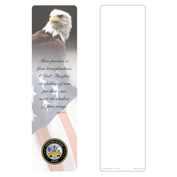 "3"" x 11"" Eagle & U.S. Flag large bookmark, Army Emblem, Psalm 36:7"