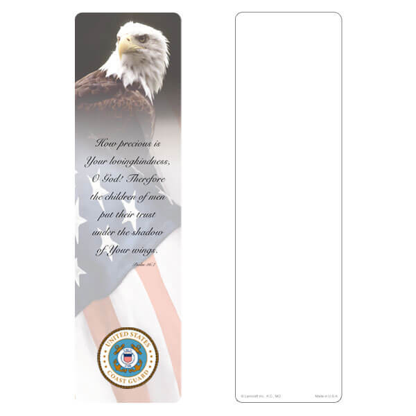 "3"" x 11"" Eagle & U.S. Flag large bookmark, Coast Guard Emblem, Psalm 36:7"