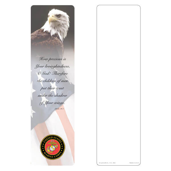 "3"" x 11"" Eagle & U.S. Flag large bookmark, Marines Emblem, Psalm 36:7"