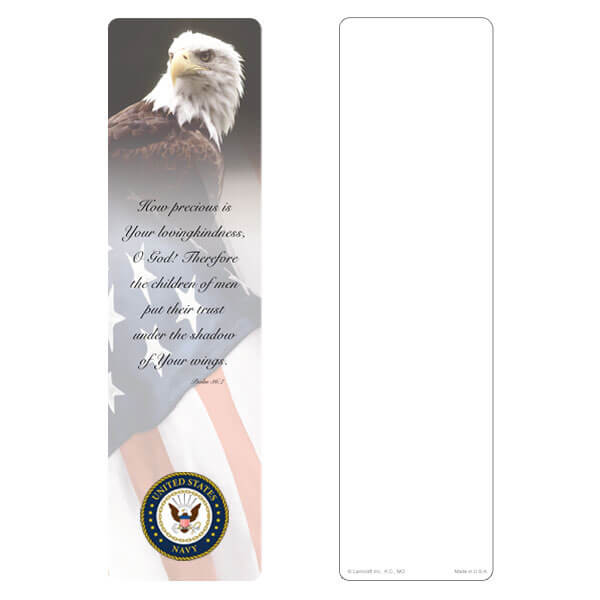 "3"" x 11"" Eagle & U.S. Flag large bookmark, Navy Emblem, Psalm 36:7"
