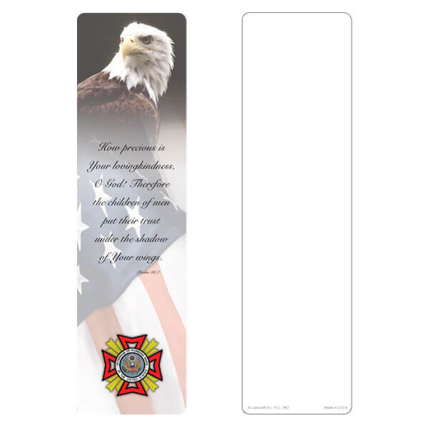 "3"" x 11"" Eagle & U.S. Flag large bookmark, VFW Emblem, Psalm 36:7"