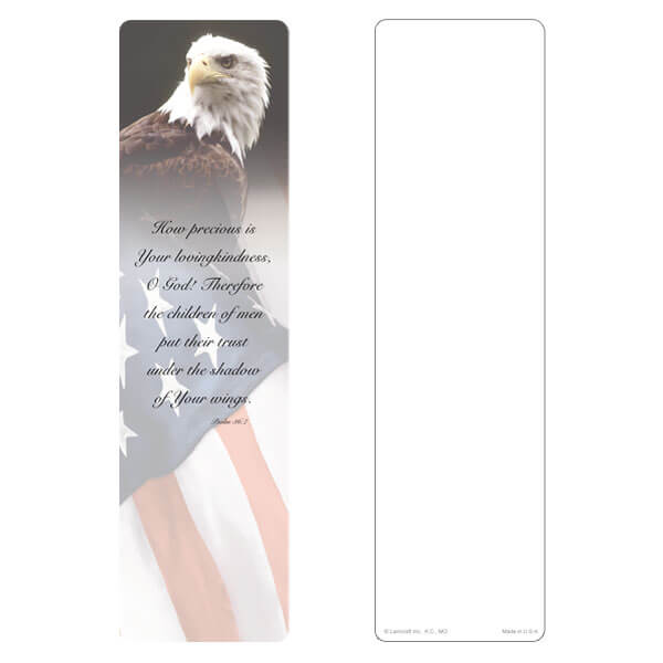 "3"" x 11"" Eagle & U.S. Flag large bookmark, No Emblem, Psalm 36:7"