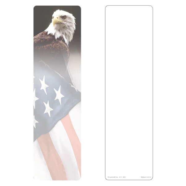 "3"" x 11"" Eagle & U.S. Flag large bookmark, No Emblem, No Verse"