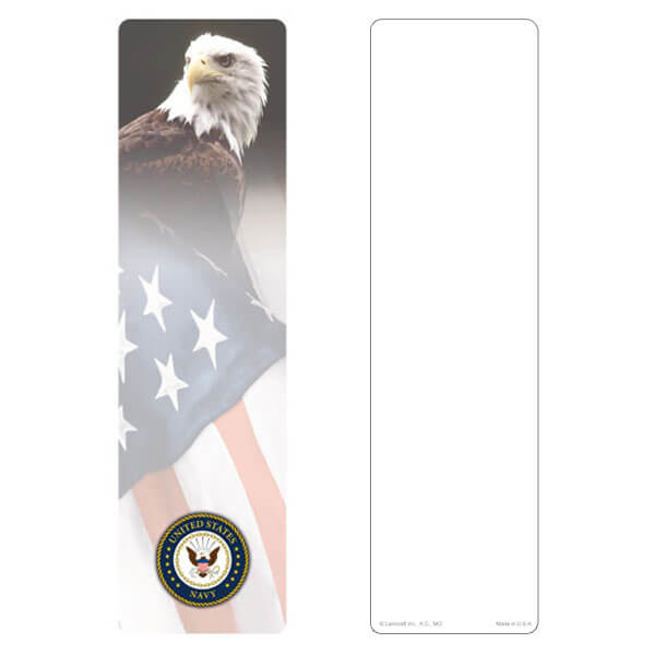"3"" x 11"" Eagle & U.S. Flag large bookmark, Navy Emblem, No Verse"