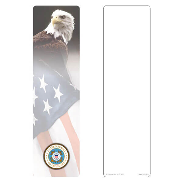 "3"" x 11"" Eagle & U.S. Flag large bookmark, Coast Guard Emblem, No Verse"