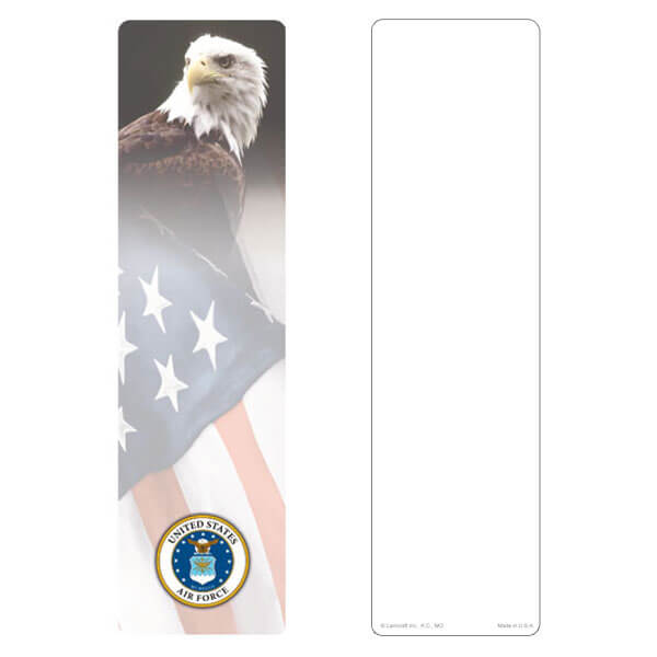 "3"" x 11"" Eagle & U.S. Flag large bookmark, Air Force Emblem, No Verse"