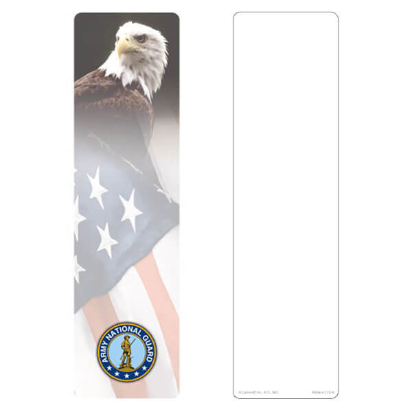 "3"" x 11"" Eagle & U.S. Flag large bookmark, Army National Guard Emblem, No Verse"