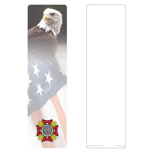 "3"" x 11"" Eagle & U.S. Flag large bookmark, VFW Emblem, No Verse"