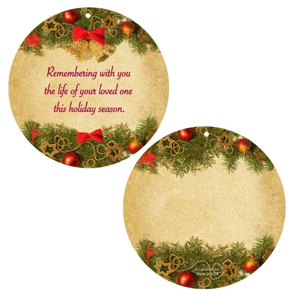 """Deck The Halls Memorial Ornament with """"Remembering With You"""" verse"""