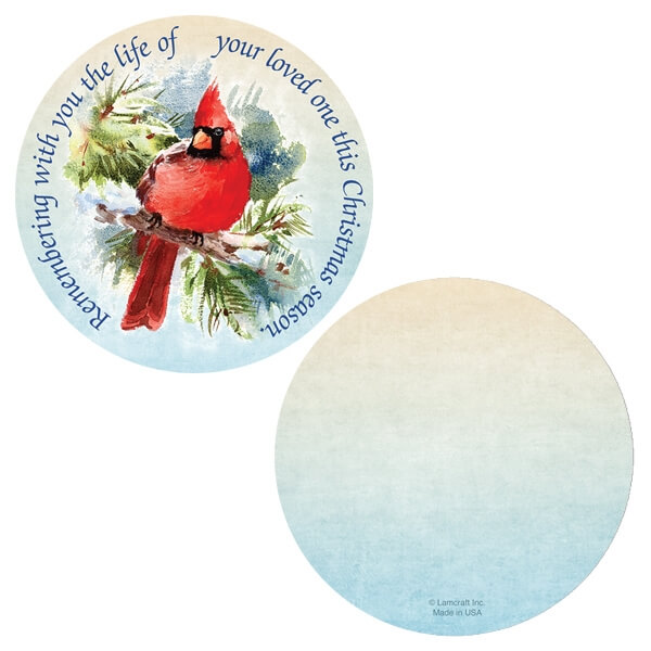 """Cardinal Memorial Ornament with """"Remembering With You"""" verse"""