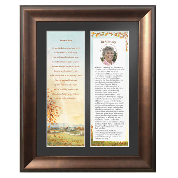"Memorial Frame for 3"" x 9"" Premium Memorial Card"
