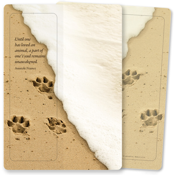 Paw Prints in Sand For Keeps™ Bookmark Card, Loving an Animal, no envelope