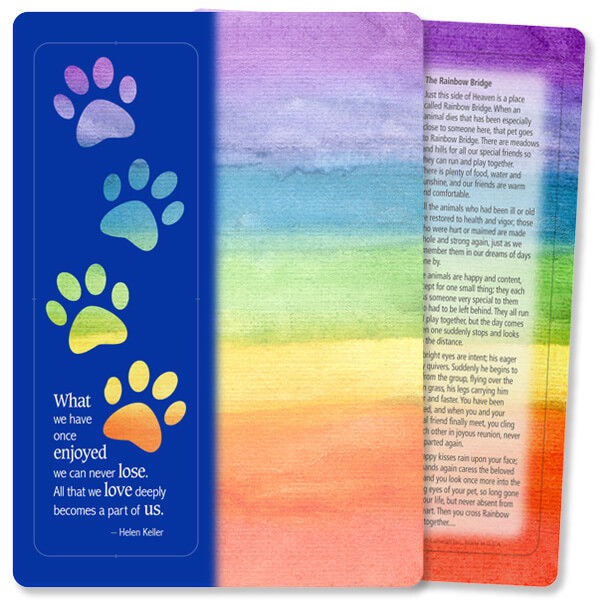 Rainbow Paws For Keeps™ Bookmark Card, What We Once Enjoyed/Rainbow Bridge, no envelope
