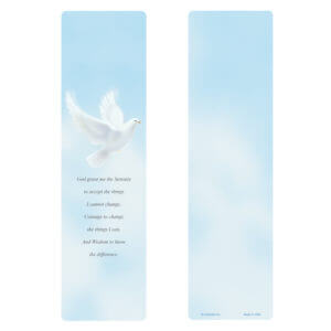 Dove Large Bookmark, Serenity Prayer